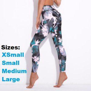 Gray tropical floral leggings